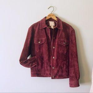J.jill 100% Suede Dark Red Genuine Leather jacket